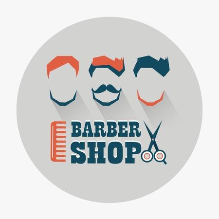 Barber shop emblem on a light background Çizim