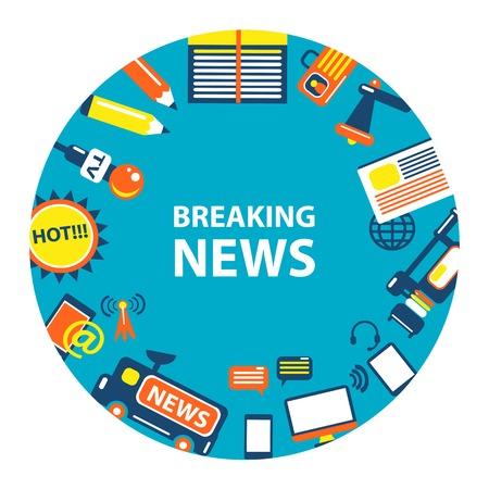 news flash: Breaking news emblem on a light background.
