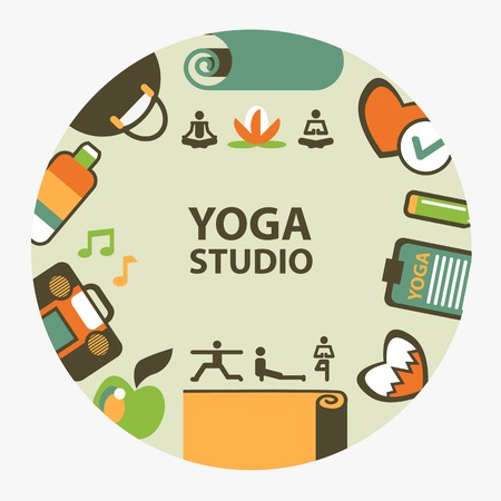 yoga class: Yoga studio emblem on a light background.