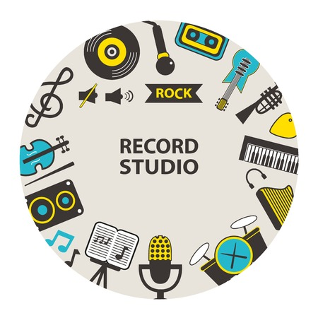 record studio: Record studio emblem on a light background.