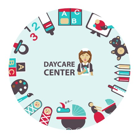 recreation rooms: Daycare center emblem on a light background.