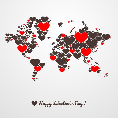 valentines: World map with hearts on a light background