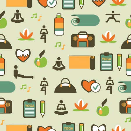 Seamless pattern with yoga equipment on a light background Vector