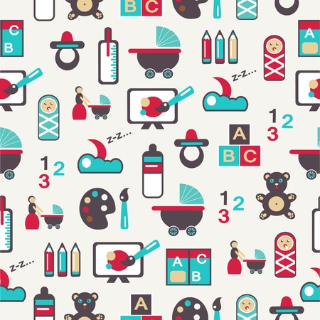 play room: Seamless pattern with nursery equipment on a light background.