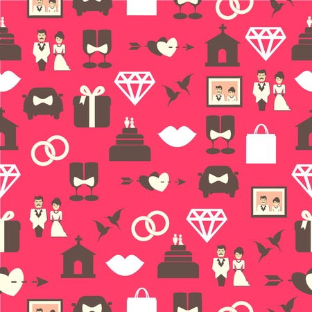 Seamless pattern with wedding equipment on a pink background Vector