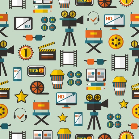 videotape: Seamless pattern with cinema equipment on a green background. Illustration