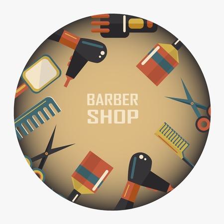 set of men hair styling: Barber shop emblem on a gray background
