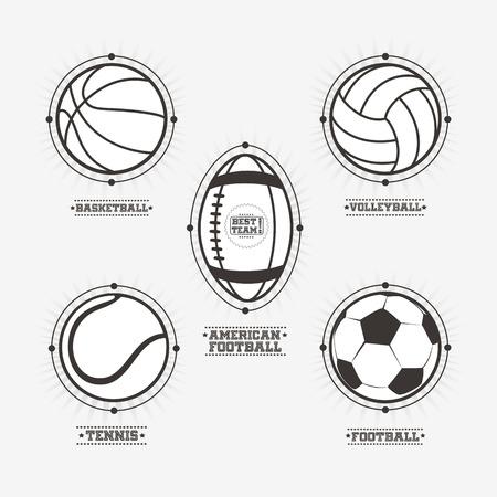 sport icons: Sports balls logos, emblem.