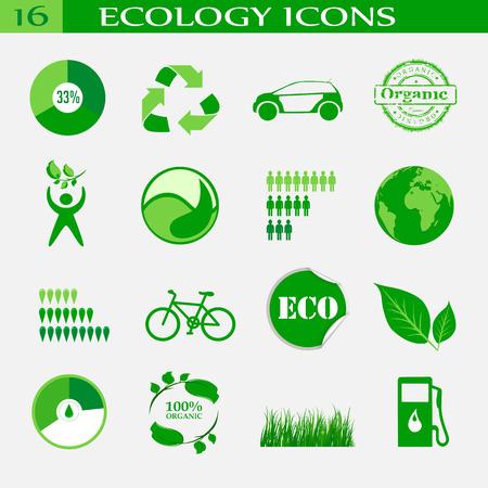 antipollution: Iconos de la ecolog�a, emblema. Vectores