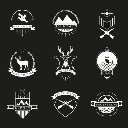 shooter: Set of  hunting, camping, fishing, armory and shooter Illustration