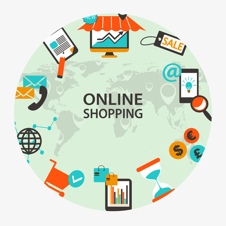 Online shopping emblem.