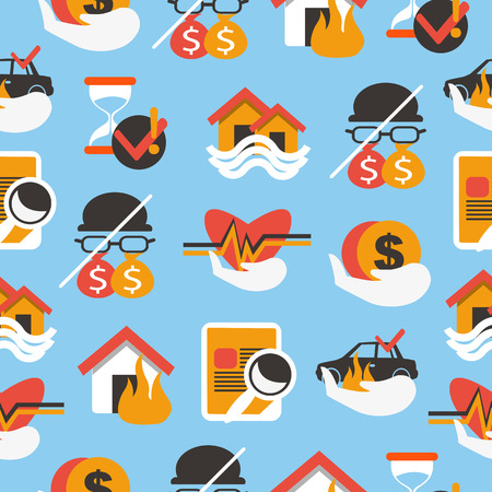 house on fire: Seamless pattern with insurace equipment.