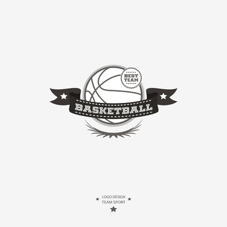 Basketball emblem, icon, badge with ribbon for sports design in black and white. Çizim