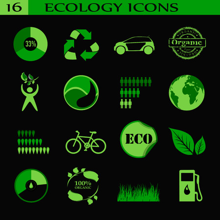 antipollution: Ecology icons, emblem.