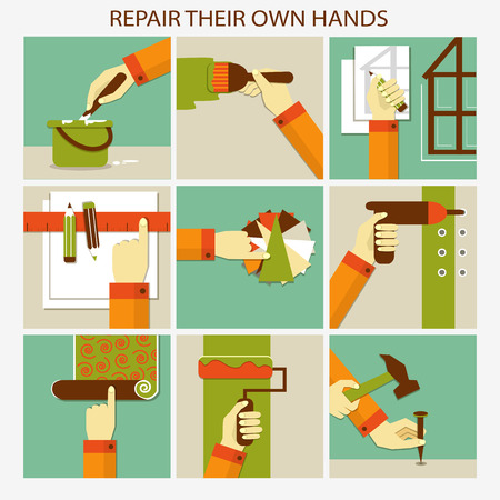 Repair their own hands. Set of home remodeling
