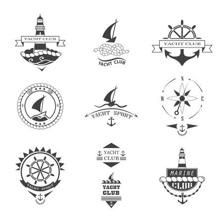 yacht: Set of yacht club icons.