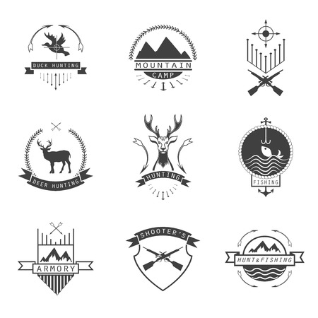 Set of  hunting, camping, fishing, armory and shooter Vector