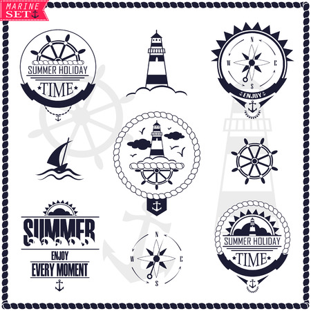 wind wheel: Set of vintage marine . Vector badges with yacht, wheel, lighthouse and wind rose.
