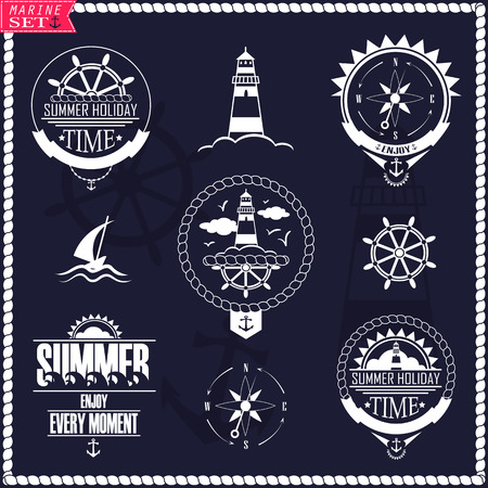 Set of vintage marine . Vector badges with yacht, wheel, lighthouse and wind rose.