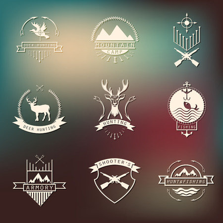 hunting: Set of camping and  hunting . Mountain camp,fishing, deer hunting, shooters club labels, badges.