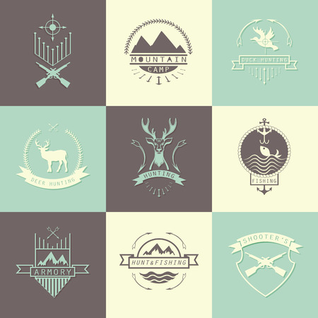 shooters: Set of camping and  hunting. Mountain camp,fishing, deer hunting, shooters club labels, badges. Illustration