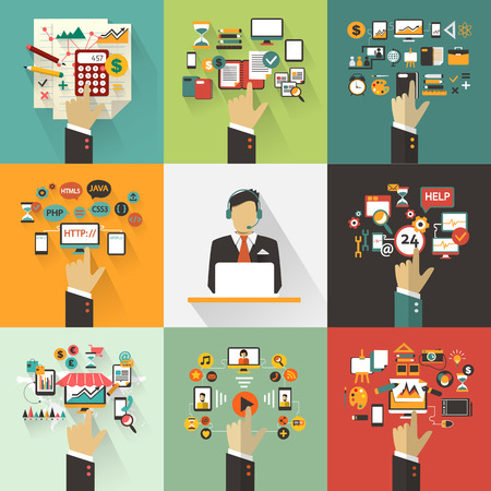 oficina: Conjunto de concepto de negocio con las manos. Infografía Freelance con avatar icono. Vectores