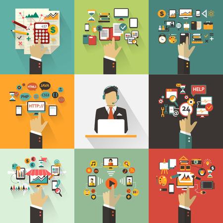 administracion de empresas: Conjunto de concepto de negocio con las manos. Infograf�a Freelance con avatar icono. Vectores