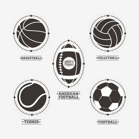 Sports balls, emblem and badges in black and white. Vector