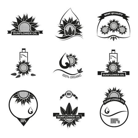Ensemble de huile de tournesol emblèmes, étiquettes