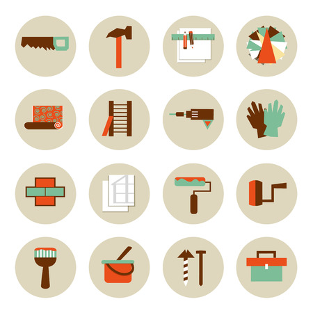 Set of flat working tools icons. Repair and remodeling. Çizim