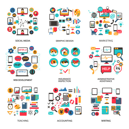 work office: Set of elements for freelance job and career. Illustration