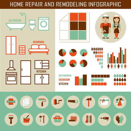 laundry symbol: Home repair and remodeling infographic with elements.