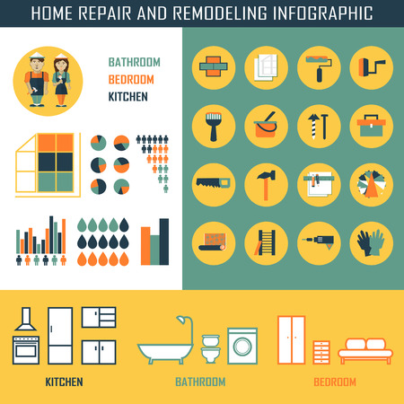 Home repair and remodeling infographic with elements.