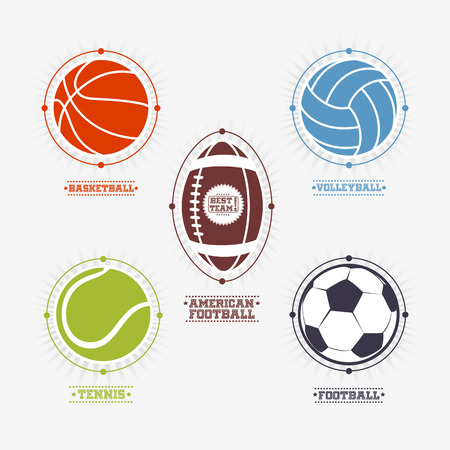 Sports colorful balls  and emblem with text.