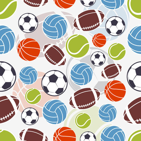 Seamless sports pattern. Sports colorful balls and emblem