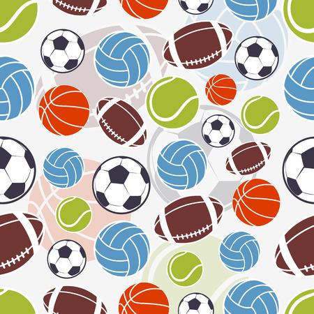 deporte: Patrón de los deportes sin costuras. Deportes bolas de colores y el emblema