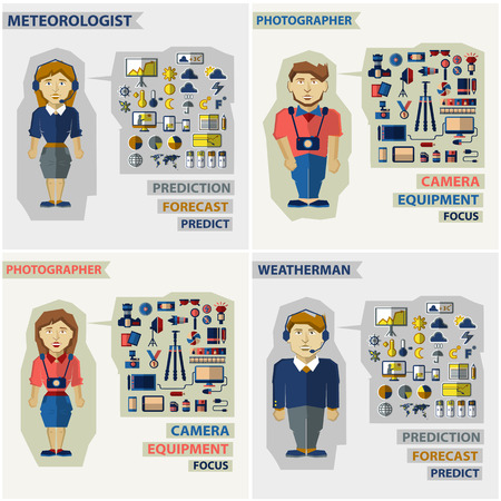 meteorologist: Set of professions  with equipment. Photographer, meteorologist and weatherman. Illustration