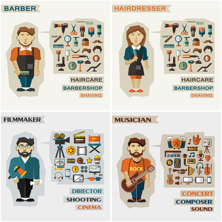 barber: Set of professions  with equipment.