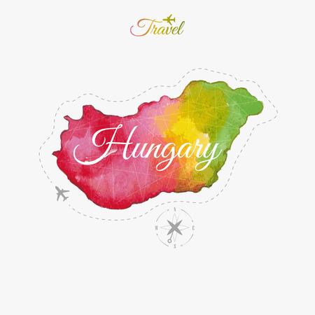 Travel around the  world. Hungary. Watercolor map
