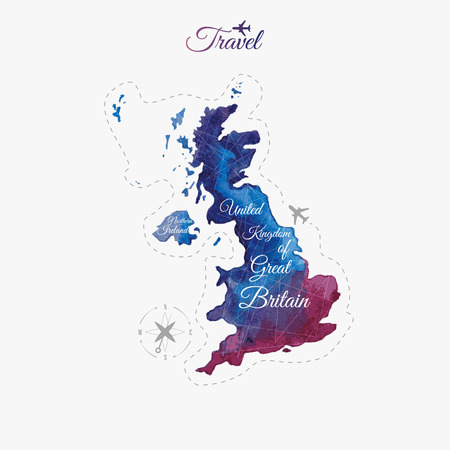 Travel around the  world. United Kingdom of Great Britain and Northern Ireland. Watercolor map