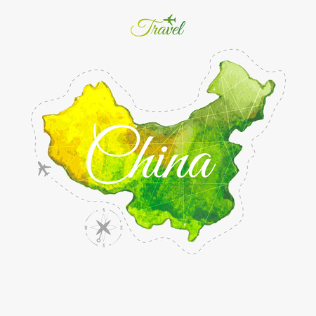 china watercolor paint: Travel around the  world to China. Illustration