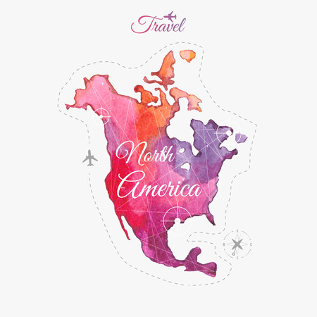 Travel around the  world. Watercolor North America.