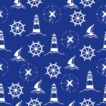 海と航海のパターンのセット