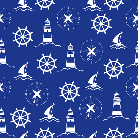 Set of sea and nautical  patterns 版權商用圖片 - 40674550