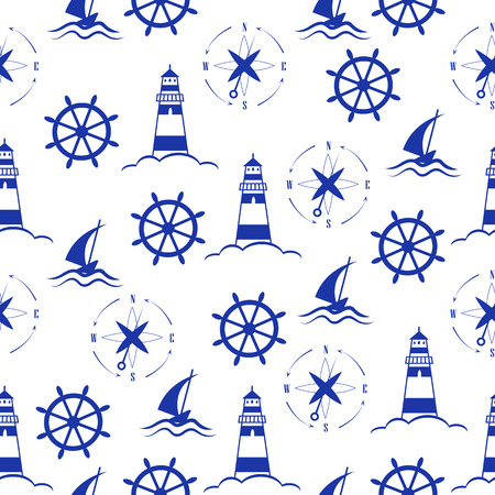 wind wheel: Set of sea and nautical  patterns