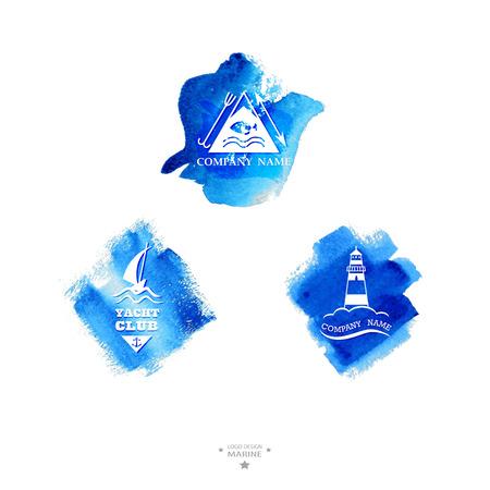 captain ship: Yacht club logo. Blue watercolor with logo.