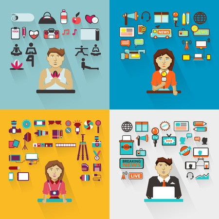 Set of professions  with equipment . Vector