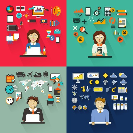 computadora caricatura: Conjunto de profesiones con equipos.