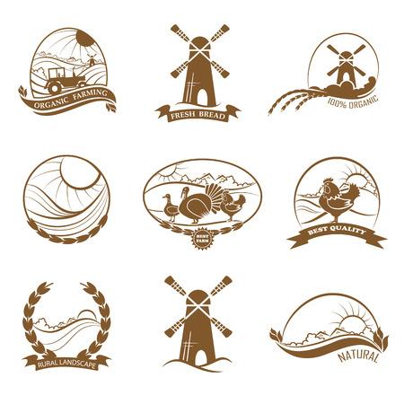logo de comida: Conjunto de paisaje rural, la agricultura, la alimentación y pan logotipos orgánicos, emblema, etiquetas