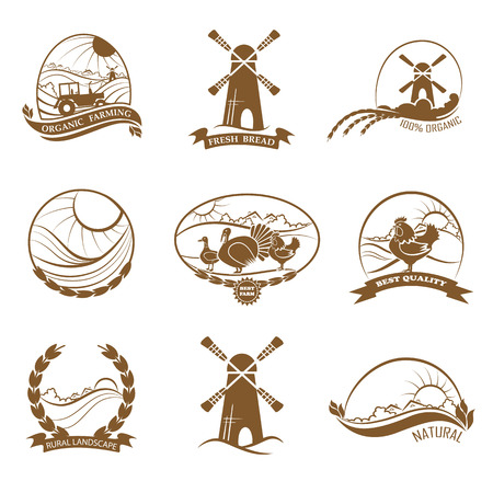 Set of rural landscape, farming, organic food and bread logos, emblem, labels